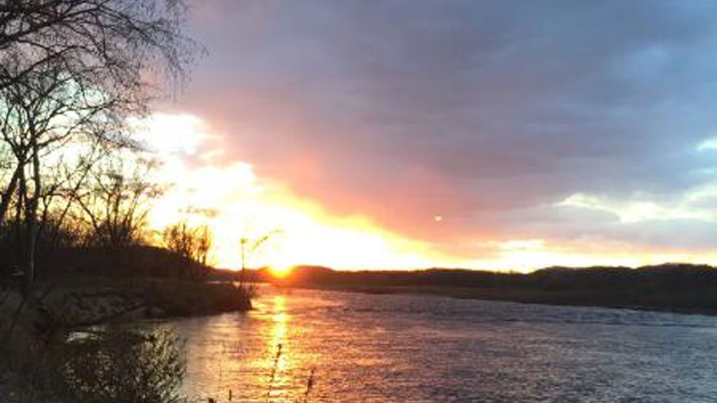 Blazing sunset view on the Wisconsin River