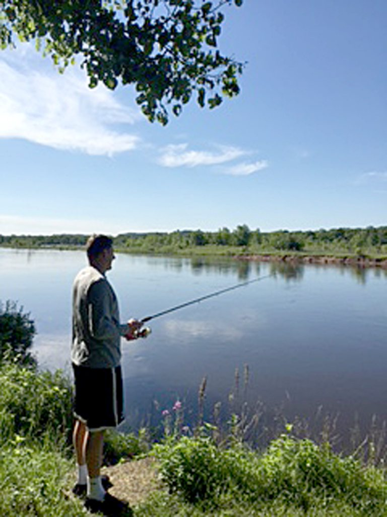 Fishing from the bank of Wisconsin River